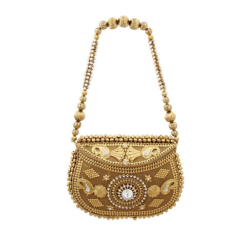 Burnished Gold Metal and Rhinestone Intricately Designed Hard Case Clutch