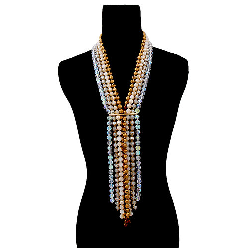 Gold and Topaz Glass Bead Ombre Long Layered Y Necklace