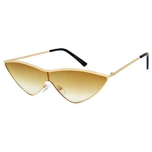 Brown and Gold Retro Extreme Cat Eye Sunglasses