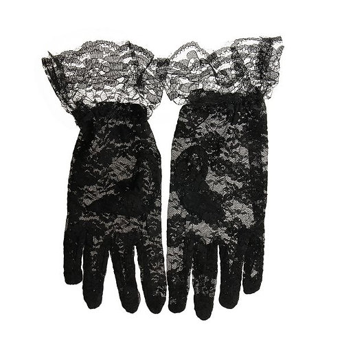 Black Frikly Lace Gloves.