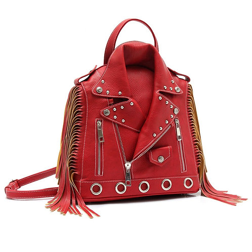 Red Leather Moto Jacket Backpack