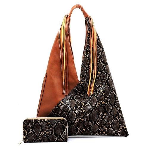 Vegan Leather Snake Print Hobo Handbag