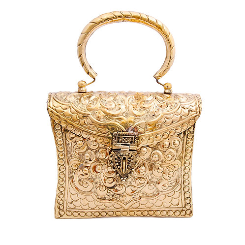 Brass Metal Hard Case Clutch with Etched Detail and Handle