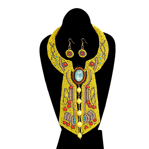 Yellow Beading with Pearl Cravat Style Bib Necklace Set