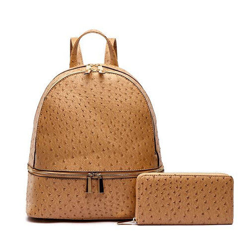 Vegan Ostrich Leather Backpack/Handbag and Wallet Set. Backpack