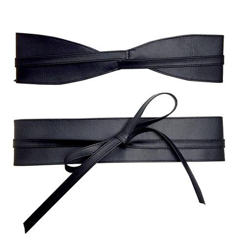 Black Faux Leather Wrap Around Belt