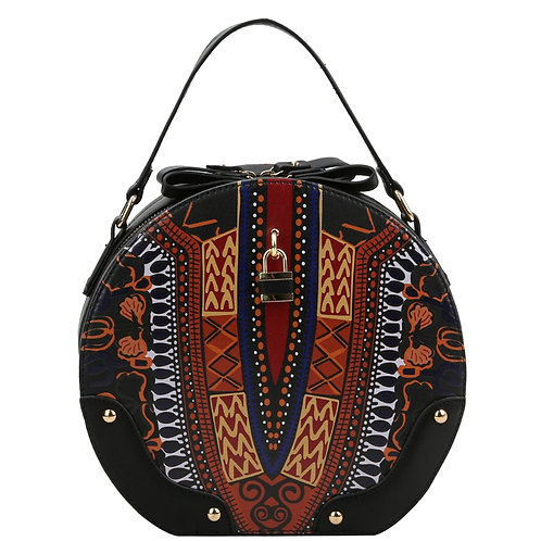 Black Dashiki Print Vegan Leather Round Handbag