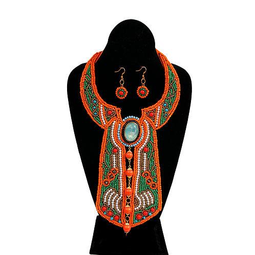 Orange Beading with Pearl Cravat Style Bib Necklace Set