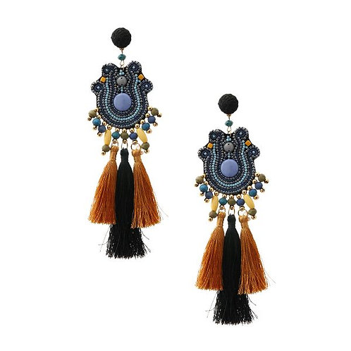 Blue Beaded Tribal Drop Earrings