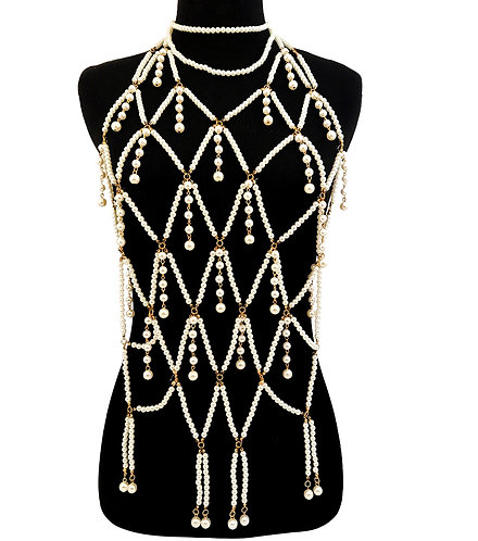 Cream Pearl and Gold Long Body Chain