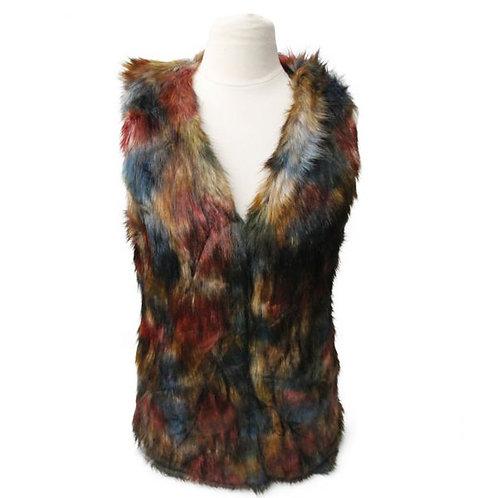 Multi Color Faux Fur Vest