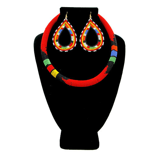 Zulu Necklace. Maasai Red and Multi Color Bead Wrapped Tribal Necklace Set