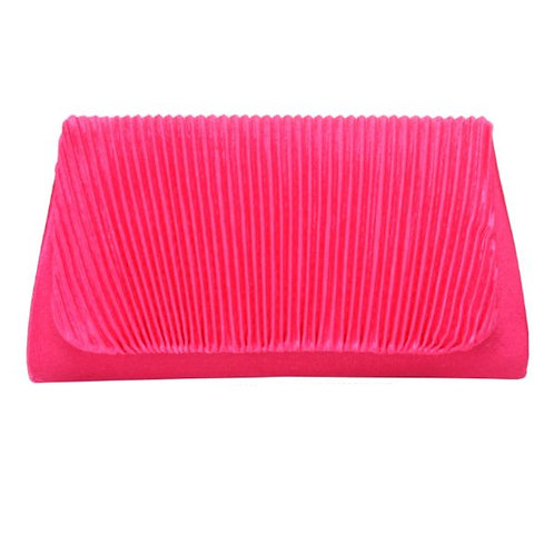 Pink Clutch Featuring Pleated Detailing. Flap and Snap Closure.
