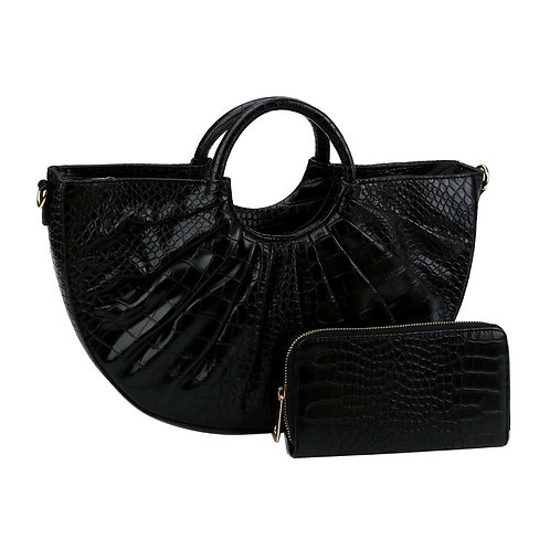 Black Crocodile Vegan Leather Semi Circle Handbag Set