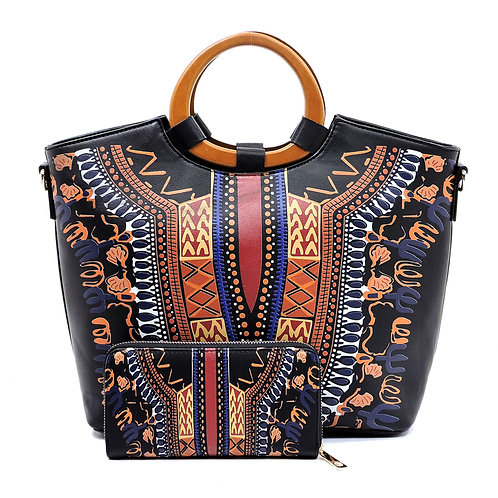 Black Dashiki Print Vegan Leather Handbag Tote with Round Wooden Handle