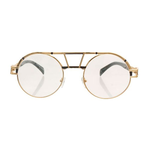 Gold and White Metal Round Aviator Sunglasses Featuring Clear Lens