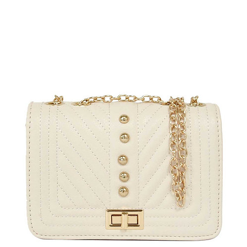 Ivory Vegan Leather Quilted Chevron Crossbody Shoulder Bag