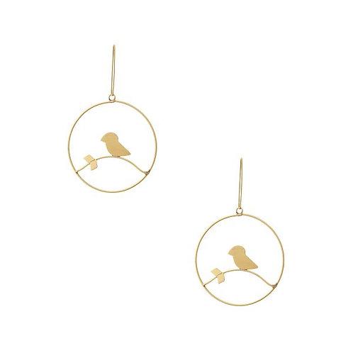 Gold Brass Metal Industrial Drop Hoop Earrings
