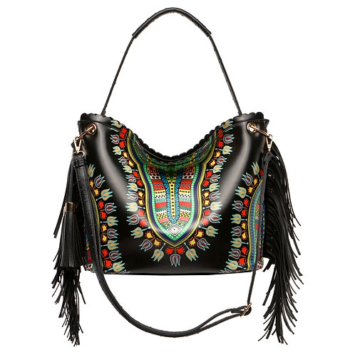 Dashiki Print Fringe Handbag
