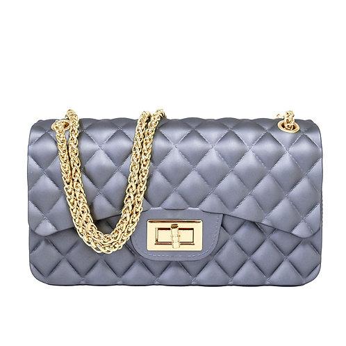 Gray Quilted Jelly Crossbody Handbag