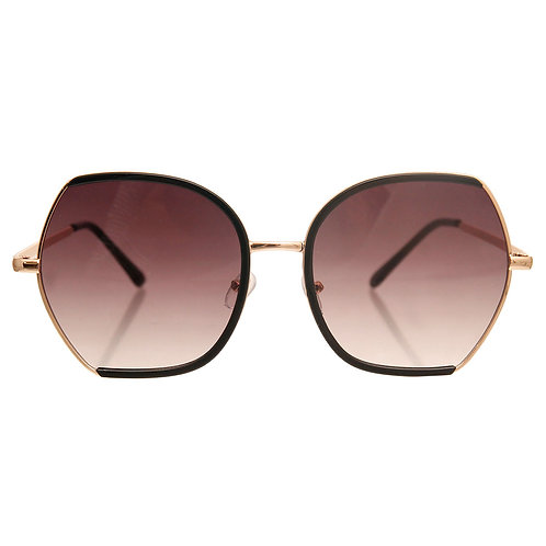 Gold and Black Trim Metal Sunglasses Featuring Gradient Lens