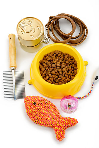 Assorted pet food, toys and accessories