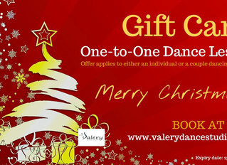Gift Card. One-to-One Dance lesson. Treat your friends or family to a special Christmas present this