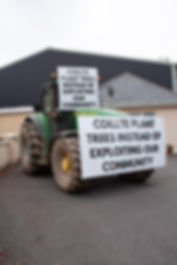 innogy windfarm meeting tractor coillte plant trees stop exploiting our community