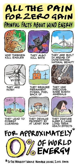 wind enery renewables turbines noise fossil fuels devaluation deforestation sleep loss bat killers rare mineals 0% world energy