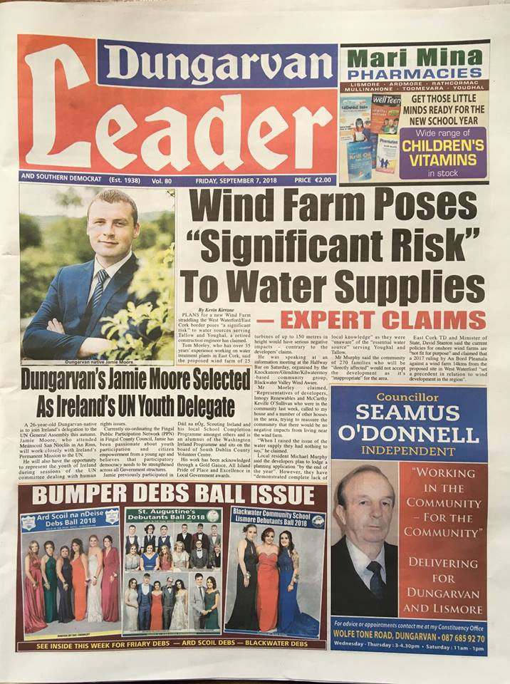 wind energy wind turbines Ireland Innogy wind farm Ireland Waterford Cork water supply to nearly 300 family homes at risk