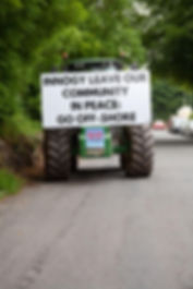 innogy windfarm protest tractor leave our community in peace go offshore