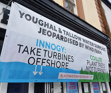 Innogy wind farm take turbines offshore Tallow banner water supply at risk Youghal