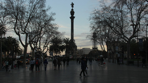 Famous statue of Christopher Columbus at La Rambla