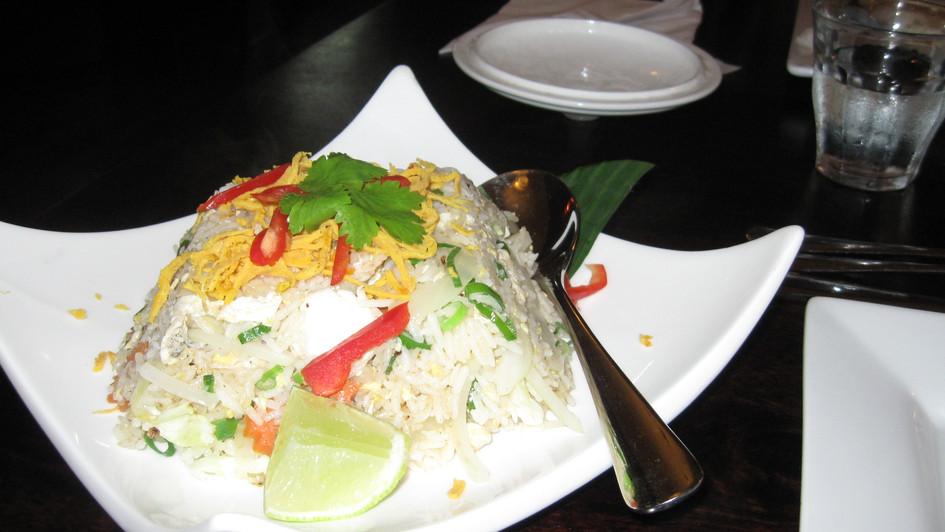 Egg fried rice in a local Thai restaurant.