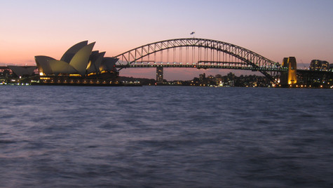 Sydney landmark structures in the evening
