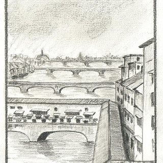 Bridges in Florence Italy and Ponte Vecchio over Arno River