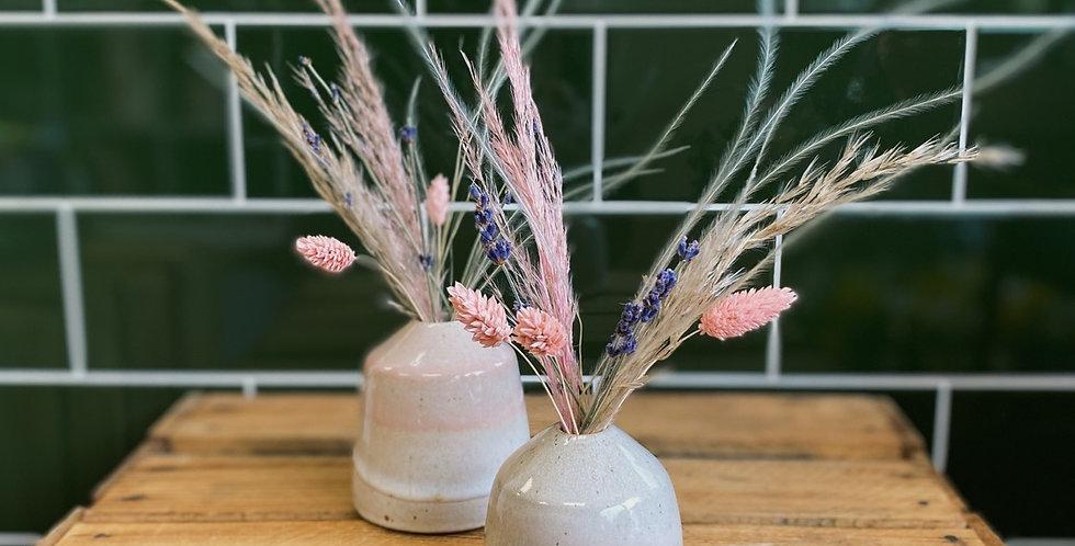 Mini Ceramic vase including dried flowers
