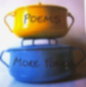 Two stacked casseroles with 'Poems' written across the top one and 'More poems' written across the bottom one.