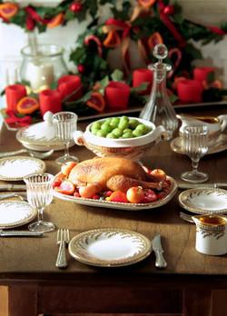 Roast goose Christmas dinner