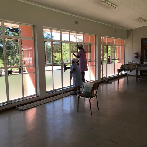 cleaning of dining hall windows for new