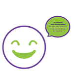Icon showing happy face with speech bubble