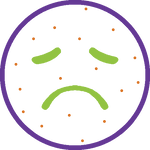 Icon showing sad face with allergy spots