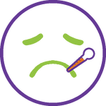 Icon showing sick face and thermometer