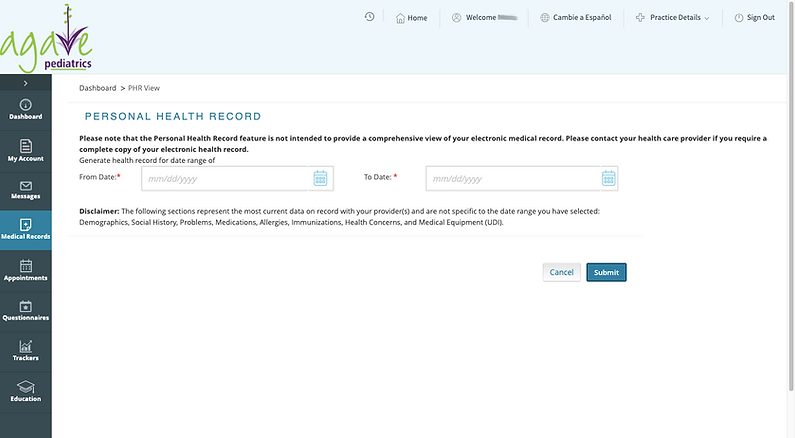 health records page