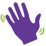Icon showing waving hand