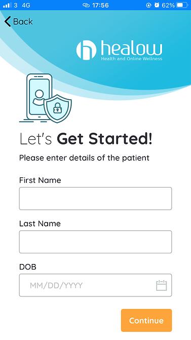 Get started enter details screen