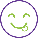 Icon showing happy face with tongue out