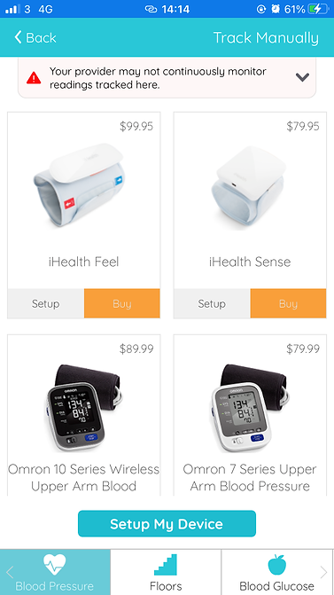blood pressure floors and blood glucose tracking
