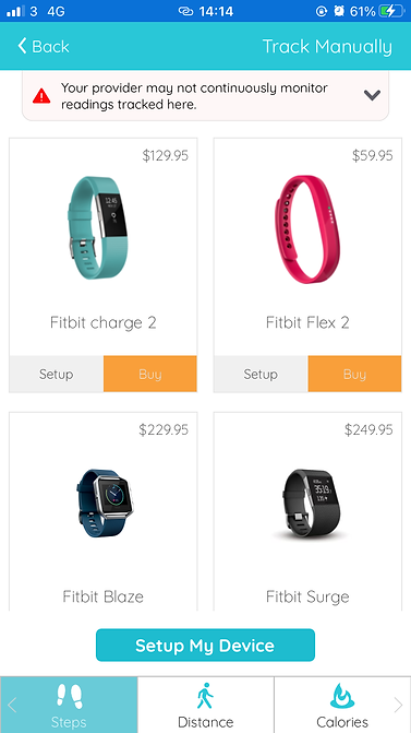 steps distance and calories tracking