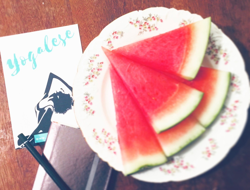 Yogalese notebook and watermelon